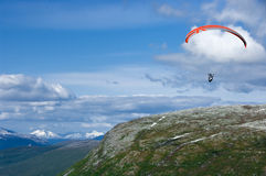Paragliding in Norway Royalty Free Stock Images
