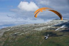 Paragliding in Norway Stock Photo