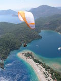 Paragliding Oludeniz. Paragliding in oludeniz,close to beautiful beach stock image
