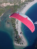 Paragliding Oludeniz. Paragliding in oludeniz,close to beautiful beach royalty free stock photos