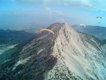 Paragliding Oludeniz. Paragliding in oludeniz,close to beautiful beach royalty free stock photo
