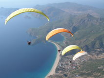 Paragliding Oludeniz. Paragliding in oludeniz,close to beautiful beach stock photo
