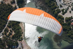 Paragliding Oludeniz. Paragliding in oludeniz,close to beautiful beach stock images