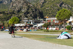 Paragliding  in Oludeniz Stock Photo