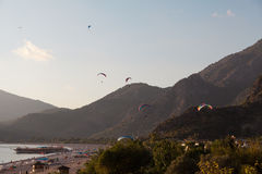 Paragliding in Oludeniz, Turkey Royalty Free Stock Images