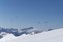 Paragliding over the Alps in winter. Germany Stock Image