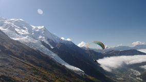 Paragliding over Chamonix valley stock video