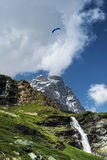 Paragliding over the Matterhorn, Aosta Valley Stock Images