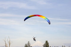 Paragliding Over Mount Hood Stock Photography