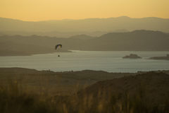 Paragliding over the Negratin Reservoir Stock Photos