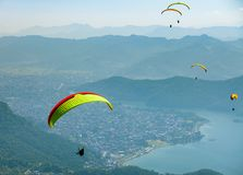 Paragliding over Pokhara, Nepal royalty free stock photo