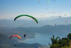 Paragliding over Pokhara, Nepal stock photos