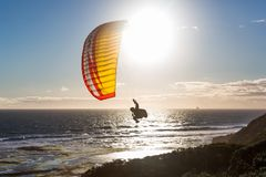 Paragliding. Over the Portsea beach Royalty Free Stock Photo