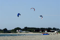 Paragliding over sea. Picture of paragliders taking off on sandy beach in Stavanger, Norway Royalty Free Stock Images