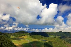 Paragliding on the cloudy sky, Sete Cidades, 30 July 2017