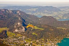Paragliding over St. Gilgen and mountains Stock Photos