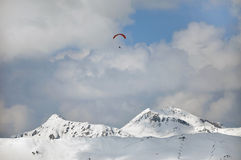 Paragliding over the Tirol, Austrian Alps Royalty Free Stock Images