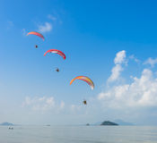 Paragliding over tropical each Royalty Free Stock Image