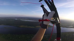 Paragliding panorama in sunset above the city. stock video footage