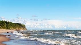 Paragliding 10. Paraglider flight over Baltic sea coastline, Karkle beach, Klaipeda, Lithuania Royalty Free Stock Photos