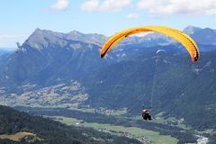 Paragliding in Samoens, French Alps stock photos