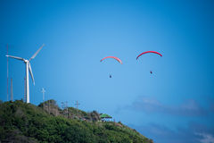 Paragliding at phuket. This is a photo of two paragliding over the cliff Royalty Free Stock Photo