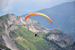 Paragliding at Pilatus mountain, Switzerland stock photos
