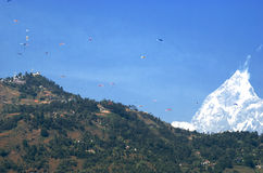 Paragliding in Pokhara Stock Photography
