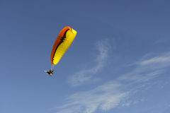 Paragliding. Is the recreational and competitive adventure sport of flying paragliders: lightweight, free-flying, foot-launched glider aircraft with no rigid Stock Photo