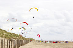 Paragliding at the sea side Royalty Free Stock Photo