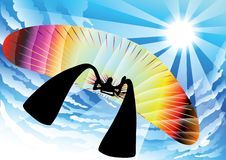 Paragliding shadow man cartoon Stock Photos