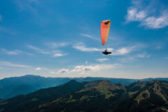 Paragliding on the sky stock image