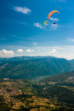 Paragliding on the sky Royalty Free Stock Photo