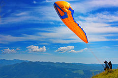 Paragliding in Slovenia Royalty Free Stock Photos