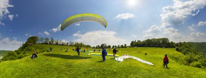 Paragliding sport in the sky Royalty Free Stock Images
