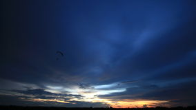Paragliding on sunrise or sunset  background. stock video
