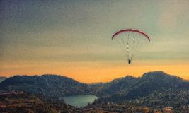 Paragliding with sunset Stock Photo