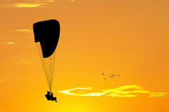 Paragliding at sunset Stock Photography