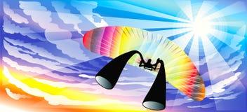 Paragliding sunshine rainbow sky Royalty Free Stock Photo