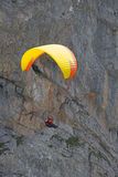 Paragliding in swiss alps royalty free stock image