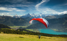 Paragliding in the Swiss Alps Stock Image