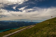 Paragliding on the top of the Schafberg royalty free stock photo