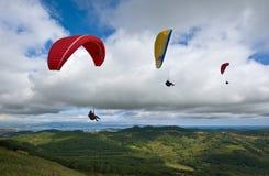 Paragliding tres sobre el valle verde Foto de archivo libre de regalías