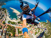 paragliding Turquía, Kas Foto de archivo libre de regalías