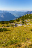 Paragliding över fjällängarna, Dachstein berg, Österrike Royaltyfria Bilder