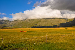 Paraglinding on the ground in the Apennines landscapes Royalty Free Stock Photo