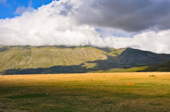 Paraglinding on the ground in the Apennines landscapes Royalty Free Stock Image
