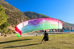 Paraglinding in oludeniz Turkey Stock Image