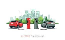Paragonando automobile elettrica contro l'automobile della benzina all'orizzonte della città isolato su fondo bianco immagini stock