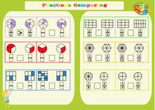 Paragone del foglio di lavoro matematico delle frazioni quadrato Pagina del libro da colorare Puzzle di per la matematica Gioco e illustrazione vettoriale